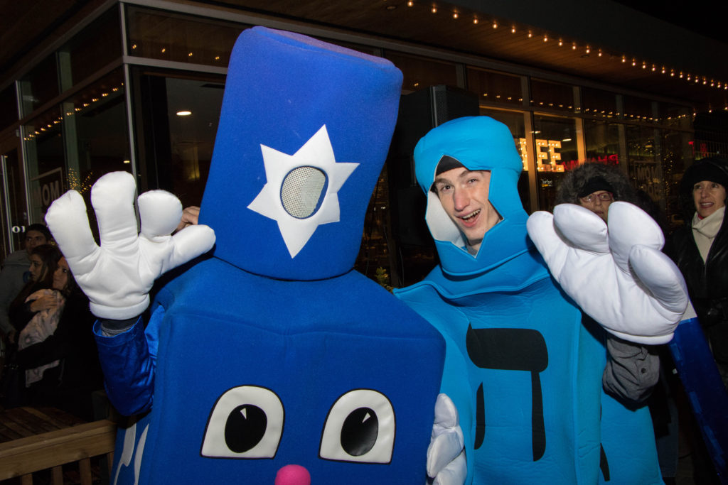 Tyler, right, and Sawyer show their Chanukah spirit through their costumes.