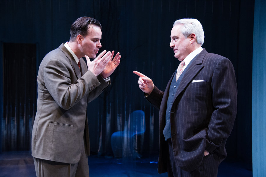 "Tim Getman as the approval- seeking Werner Heisenberg, left, and Michael Russotto as the fatherly Niels Bohr in ""Copenhagen."" Photo by C. Stanley Photography"