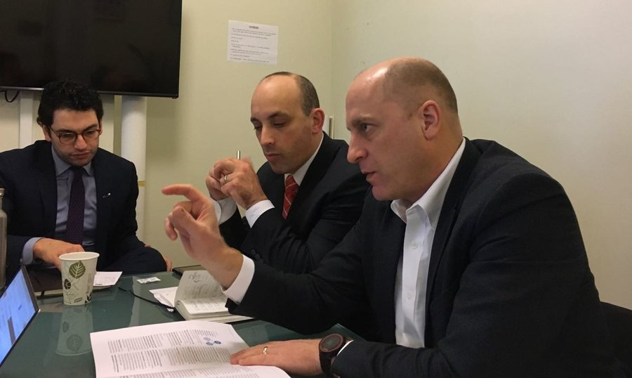 Reut founder Gidi Grinstein, right, and ADL CEO Jonathan Greenblatt, center.  Photo courtesy of Reut