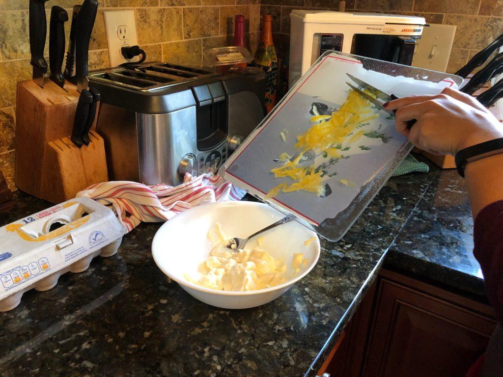 Lemon goes into mayonnaise bowl