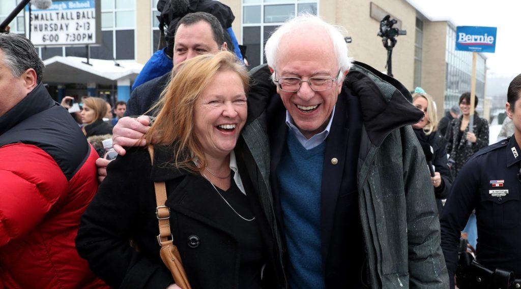 Democratic presidential candidate Bernie Sanders and wife Jane outside.