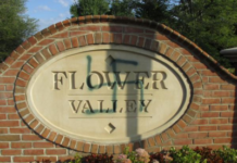 A large, green swastika was spray-painted on an entrance sign to the Flower Valley neighborhood in Rockville in 2015.