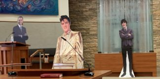 Cardboard cutouts of Elvis, George Harrison, Barack Obama and Mitt Romney