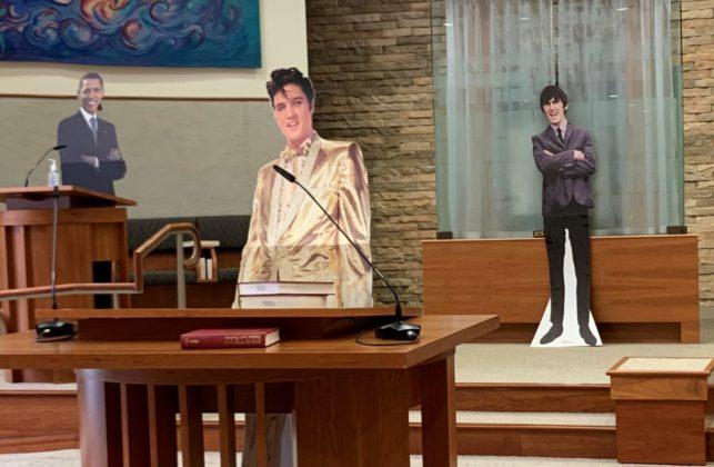 Cardboard cutouts of Elvis, George Harrison, Barack Obama and Mitt Romney