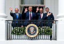 From left: Israeli Prime Minister Benjamin Netanyahu, President Donald Trump, Bahrain Foreign Minister Abdullatif bin Rashid Al-Zayani and UAE Foreign Minister Abdullah bin Zayed Al Nahyan at the White House on Sept. 15. Official White House Photo by Tia Dufour