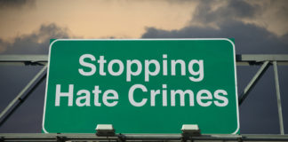 Stopping Hate Crimes sign