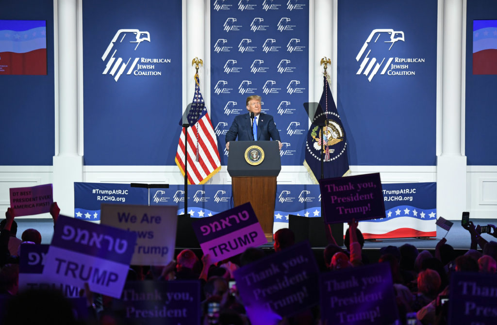 President Donald Trump speaks during the Republican Jewish Coalition's annual leadership meeting at The Venetian Las Vegas, April 6, 2019.