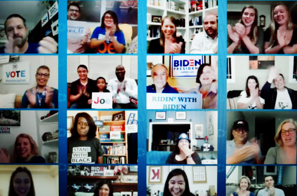 A wall of cheering Democrat supporters' webcams is displayed during the closing moments of the virtual 2020 Democratic National Convention last month, livestreamed online.
