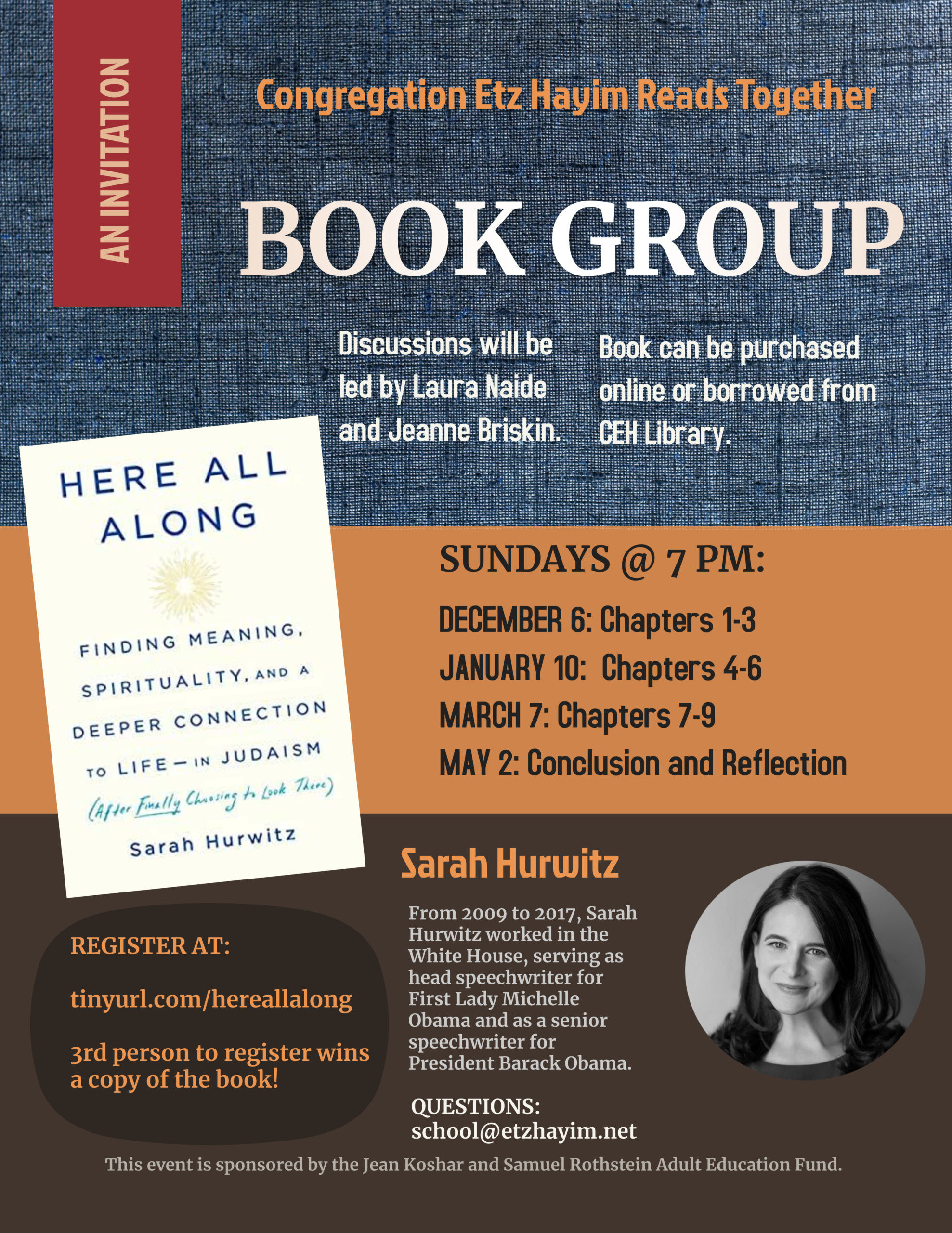 Book Group: Here All Along: Finding Meaning, Spirituality, and a Deeper Connection to Life in Judaism