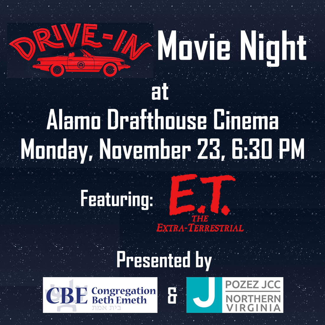 Drive-In Movie Night at the Alamo Drafthouse Cinema Presented by Congregation Beth Emeth and the Pozez JCC