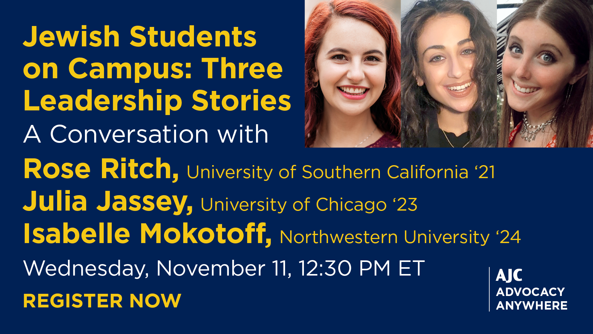 AJC Advocacy Anywhere - Jewish Students on Campus: Three Leadership Stories