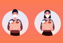 People volunteer in a protective medical mask hold big box of foods. 2019-nCoV. Ncov, covid 2019, Coronovirus concept. Novel coronavirus pandemic. Flat vector cartoon modern design illustration.