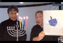 Maran Gluckstein and her daughter Malka Ostchega perform songs and read stories for a virtual audience on Dec. 13.