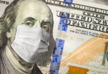One Hundred Dollar Bill With Medical Face Mask on George Washington.