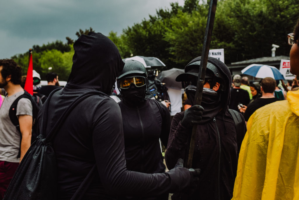 Antifa counter-protesters outside  Lafayette Square during Unite the Right 2