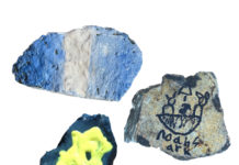 """The """"Now That's a Rock"""" challenge had students find a rock and color it with a Jewish theme."""