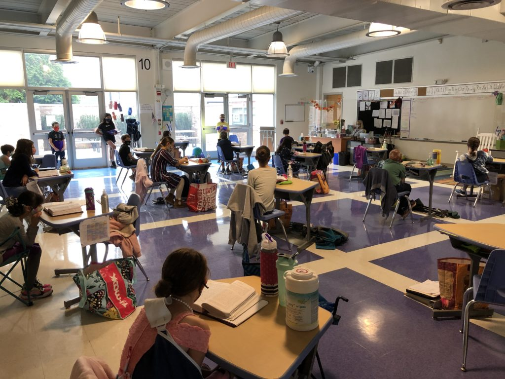 Students at Gesher Jewish Day School learn in person in spite of the pandemic.