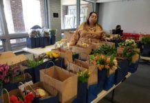 Maryland Hillel Israel Fellow Sapir Frieman prepares TLC packages on Feb. 12.