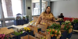 Maryland Hillel Israel Fellow Sapir Frieman prepares TLC packages on Feb. 12.