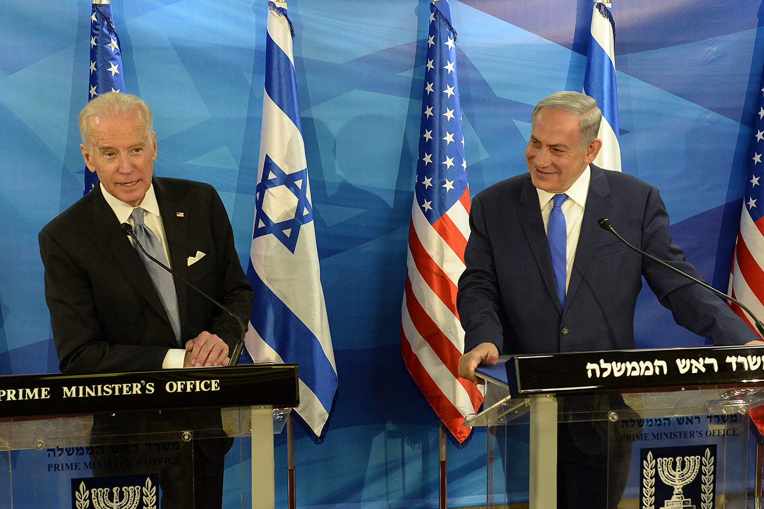 Then-Vice President Joe Biden, left, and Prime Minister Benjamin Netanyahu, in 2016
