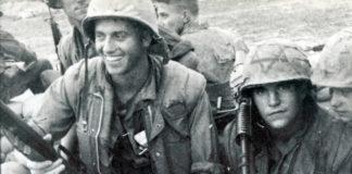 Marine in Vietnam with Magen David helmet, ca. 1968