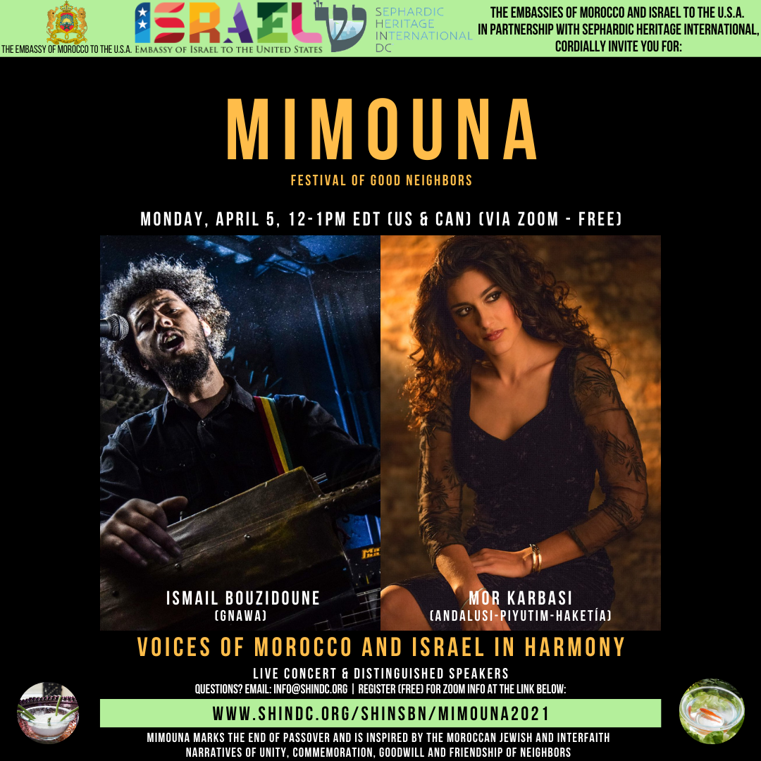 Historic Mimouna Festival with the Embassies of Israel & Morocco in Partnership with SHIN-DC