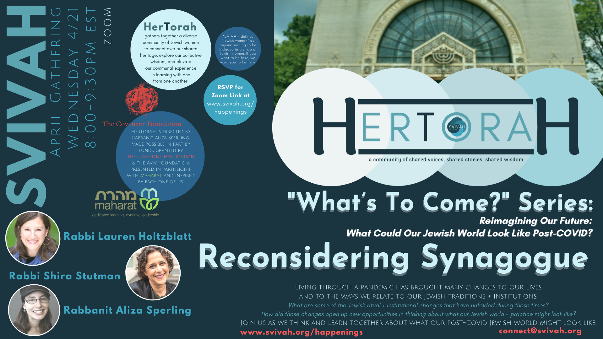 """SVIVAH's HerTorah: """"What's To Come?"""" Series: Reconsidering Synagogue"""